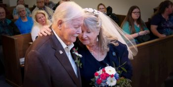 IMAGE:Veteran Paul Brown, 81, married Juanita Ratliff, 81, in front of a small gathering of friends and family in the medical center's chapel.