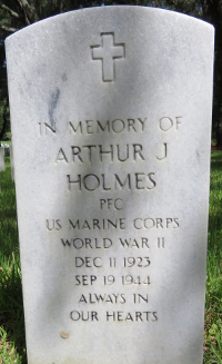 Photograph of Memorial marker for Pfc Arthur J. Holmes at Florida National Cemetery in Bushnell, Florida.