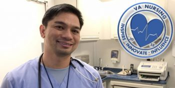 "Photo of VA registered nurse Renante ""Bobby"" Dizon taken by Reynaldo Leal on February 2018. 2018 VA Nursing logo shown near top-right corner. (U.S. Department of Veterans Affairs photo illustration by Luis H. Loza Gutierrez)"