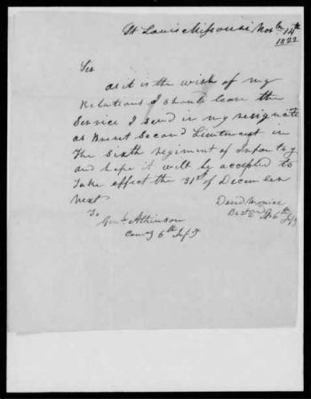 Photograph of David Moniac's letter of resignation from the Sixth U.S. Infantry Regiment