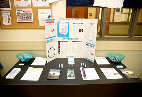 Similar information tables like this one located inside the VA outpatient clinic in Harlingen, Texas, on April 25, 2018, were on display at various locations for public display in observance of this year's Sexual Assault Awareness Month. (U.S. Department of Veterans Affairs photo by Luis H. Loza Gutierrez)