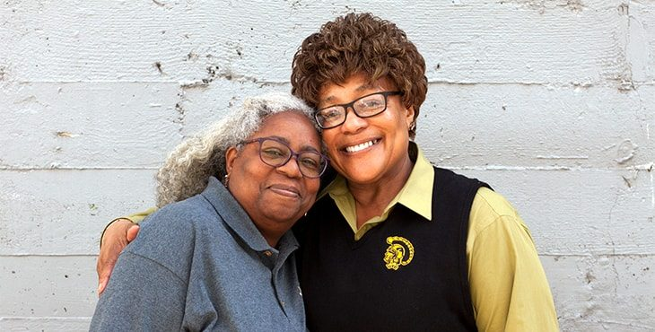 IMAGE: Swords to Plowshare's, drop-in coordinator, LaJune Davis and (right) Navy Veteran Verna Burton at Swords to Plowshares main office in San Francisco.