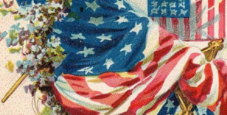 Vintage color postcard with flags, flowers, verse