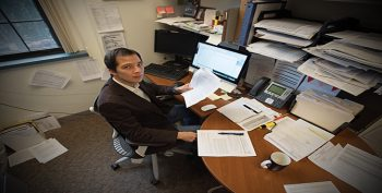 researcher in office