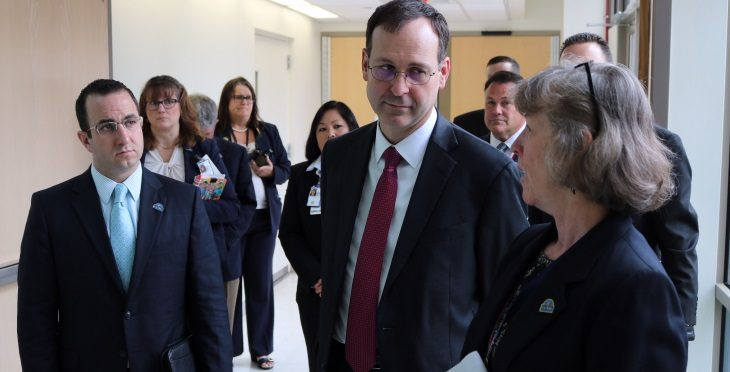 IMAGE: VA Acting Secretary Peter O'Rourke met with leadership at the Manchester VA Medical Center and was granted an expansive tour of the facility nearly a year after a complete overhaul of the facility.