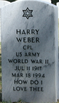 Photograph of Grave Marker for Cpl. Harry Weber at Florida National Cemetery in Bushnell, Florida.