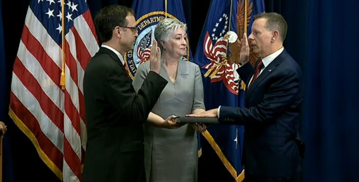 IMAGE: Lawrence swearing in as USB.