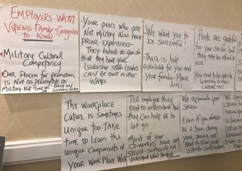 "IMAGE: IMAGE: Participant responses to the questions ""What do employers want Veterans to know?"" and ""What do Veterans want employers to know about them?"""