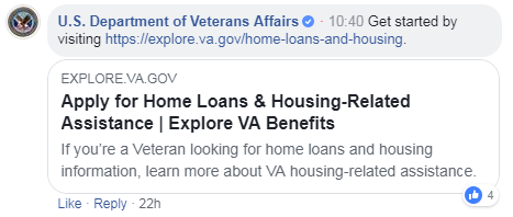Screen capture of info shared during the #ExploreVA Facebook Live Event