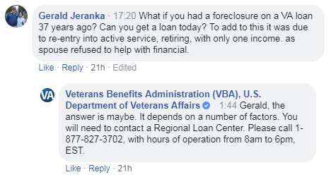 Screen capture of question and answer during the #ExploreVA Facebook Live Event