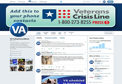The local VCL Challenge has taken over the VCB's social media platforms. The profile photos and banners of the VCB's Twitter and Facebook pages have been replaced with info graphics encouraging online guests to add the Veterans Crisis Line number to their phone contacts as well. (U.S. Department of Veterans Affairs screen shot by Luis H. Loza Gutierrez)
