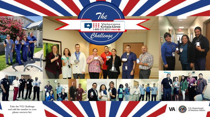 Employees at VA Texas Valley Coastal Bend Health Care System, show that they have completed the VCL Challenge by holding up their phones to show that they've added the Veterans Crisis Line number to their contacts list on during July 2018. You too can complete the VCL Challenge and add Veterans Crisis Line number [1-800-273-8255 and Press 1] to your contacts list. It could save your life or the life of a Veteran you may know. (U.S. Department of Veterans Affairs photos by Enedina Berrones, Sandra Gomez and Rodolfo A. Quintana were used for VA photo collage by Luis H. Loza Gutierrez)