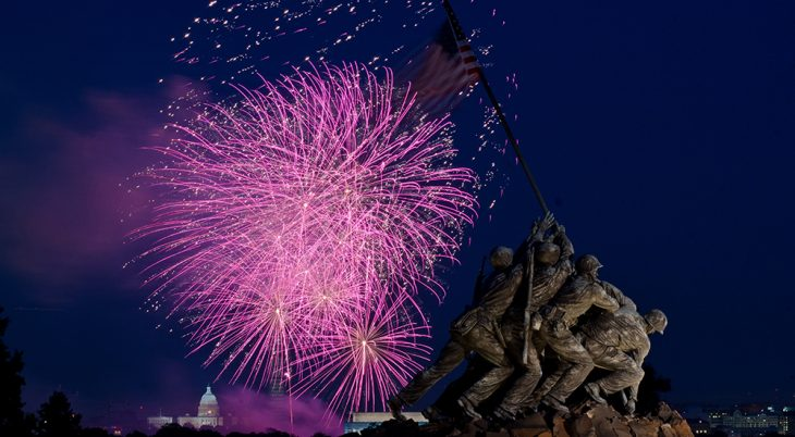 Fireworks are seen from the U.S. Marine Corps Memorial area, in Arlington, Va. on July 4, 2013. To the left of it, in the distance, is a corner of the Lincoln Memorial, then the U.S.. Department of Agriculture Yates Building (dark red brick building), the