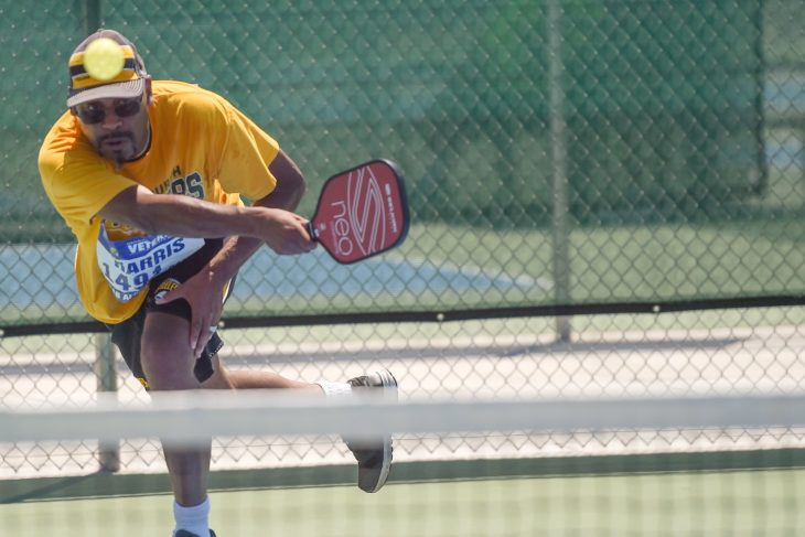 A veteran competes in pickle ball at the National Veterans Golden Age Games.