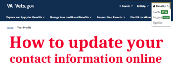 Text reads - How to update your contact information online