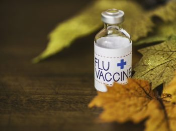 A bottle of flu vaccine