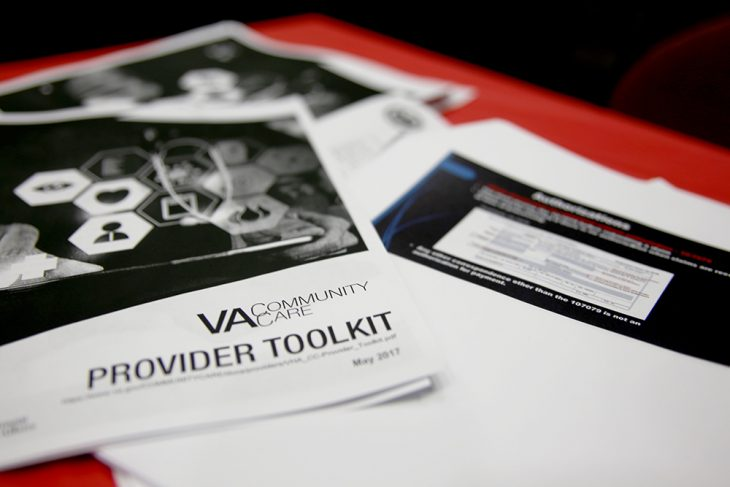 In addition to receiving a 15-page-long VA Community Provider Toolkit and other educational materials, vendors at both fairs were provided information via a series of presentations by different staff members of the Community Care Program at VCB and the VA Office of Community Care in Bonham, Texas. (U.S. Department of Veterans Affairs photo by Luis H. Loza Gutierrez)