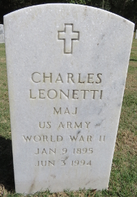 Color photograph of Grave Marker for Maj. Charles Leonetti at Florida national Cemetery in Bushnell, Florida.
