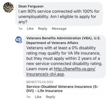 IMAGE: ExploreVA Facebook Live Event: VA Life Insurance Screen Capture