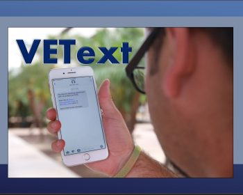 Using VEText, a local Veteran looks at the screen of a smart phone to read a recent text received April 30, 2018. (U.S. Department of Veterans Affairs photo illustration by Reynaldo Leal)