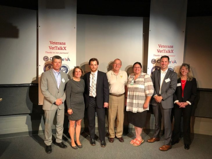 Maine VetTalkX event, held July 19, 2018 at the University of Maine, Augusta: Ben Kaler (VA VEO), Debbie Kelly, Rob McCann, David Patch, Nancy Gillespie, Joe Reagan, Jen Fullmer