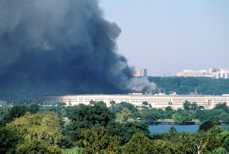 Smoke ascending from the 9/11 Attacks at the Pentagon