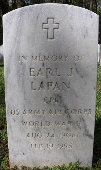 Photograph of grave marker for Cpl. Earl J. LaPan at Florida National Cemetery in Bushnell, Florida.