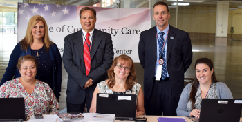IMAGE: Pictured above: Andrea Macomber, Case Manager, Charlene Eaton, Deputy Chief, Manchester Office of Community Care, Dr. Brian Phemester, Director, Manchester VA Office of Community Care, Stella Lareau, Congressional Liaison, Al Montoya, Director, Manchester VA Medical Center and Kristina Huntoon, Tilton CBOC Case Manager at Manchester VA's Community Provider Education Summit.