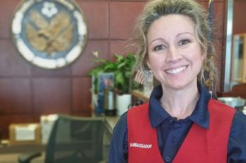 Jena Cutsinger, a Red Coat Ambassador at the Marion, Illinois VA Medical Center, has dedicated over 600 hours of her time helping Veterans in 2018.