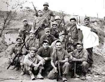 black and white photograph of soldiers from the 65th Infantry Regiment during the Korean War