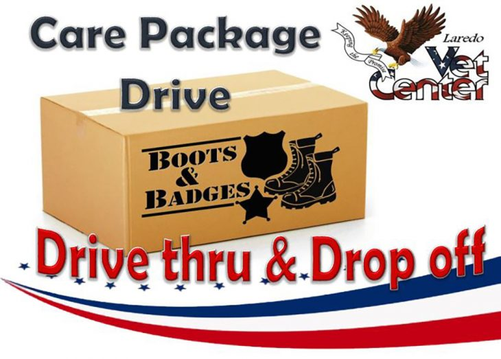 Boots & Badges Care Package Drive graphic for Drive thru & drop off event at the Laredo Vet Center on October 26, 2018. (U.S. Department of Veterans Affairs graphic by Luis H. Loza Gutierrez)