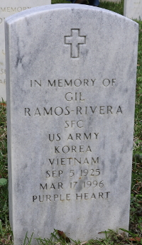 Photograph of the grave marker for Sfc. Gil Ramos-Rivera at Florida national Cemetery in Bushnell, Florida