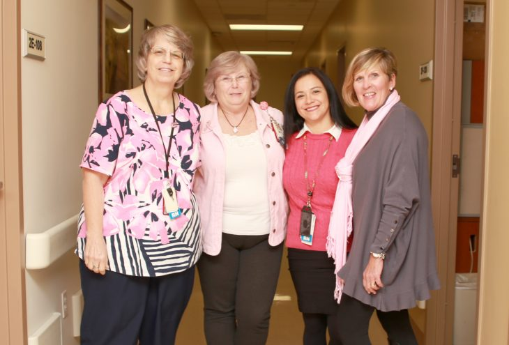 VA employees show their support for this year's Breast Cancer Awareness Month by posing for a group photo while wearing different pink garments on October 17, 2018, at the VA Health Care Center at Harlingen,Texas. (U.S. Department of Veterans Affairs photo by Luis H. Loza Gutierrez)