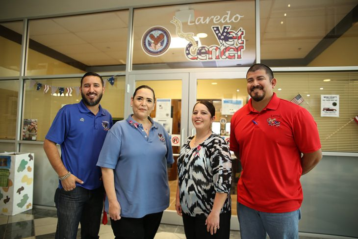 Staff members from the Vet Center in Laredo, Texas pose for a group photo in front of the main entrance to the VA facility on October 26, 2018. (U.S. Department of Veterans Affairs photo by Luis H. Loza Gutierrez)