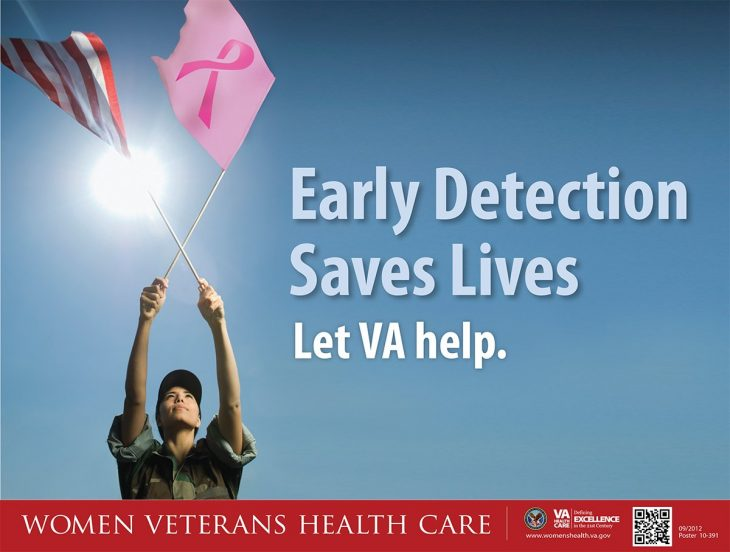 """Breast Cancer AWARENESS MONTH  graphic.  Women in camouflaged military uniform waves U.S. flag and pink flag with pink ribbon. Words appear in background,   """"Early Detection Saves Lives   Let VA Help.""""  Women Veterans Care"""