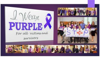 Dozens of employees, interns and volunteers from VA Texas Valley Coastal Bend Health Care System (VCB) wore purple on October 10, 2018, in observance of Domestic Violence Awareness Month.