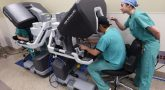 IMAGE: Surgical residents Brittany Solis, right, and Matthew Roberts hone their skills with the new Da Vinci Xi robotic surgical system at Central Arkansas Veterans Healthcare System. (VA photo by Jeff Bowen.)
