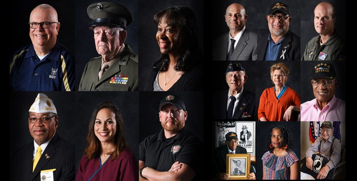Graphic showing the faces of Veterans