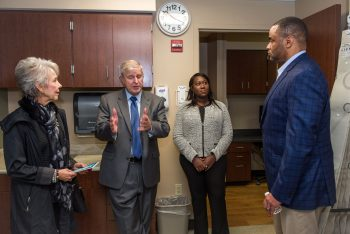 image of Officials discuss the health care services offered at the newly opened Grand Prairie VA Clinic