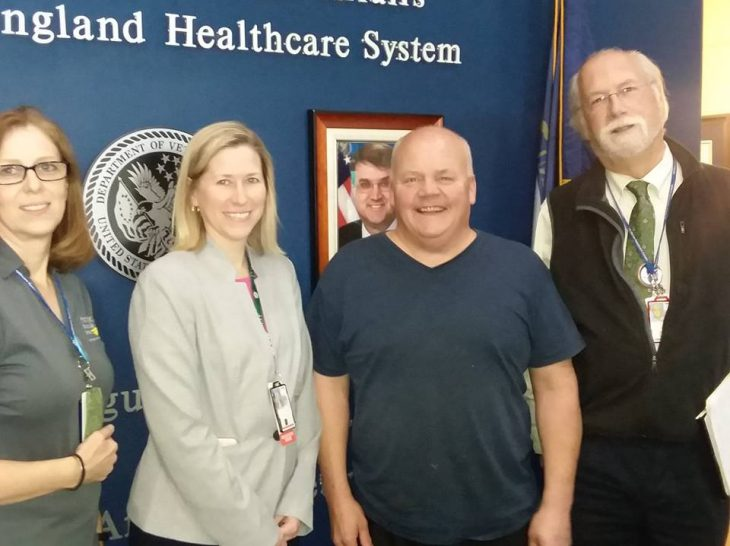 (Left to right) Kim Michaud, Service Chief of Prosthetics, Amy Gartley, Associate Director for Patient and Nursing Services, Mac McEnery, Dr. Stephen Sears, Chief of Staff
