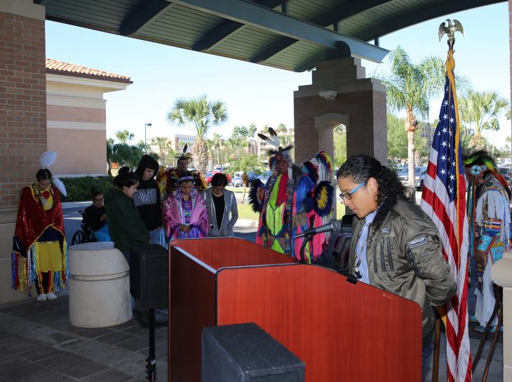 Army Veteran and clergy woman Pastor Ali Lopez, delivers an invocation in which she expressed thanks for the opportunity to help others better understand the important contributions of different ethnic groups that are part of the history of the United States of America. Image taken during a special event held in observance of National Native American Heritage Month, which took place at the VA outpatient clinic in Harlingen, Texas, on November 16, 2018. (U.S. Department of Veterans Affairs photo by Luis H. Loza Gutierrez)