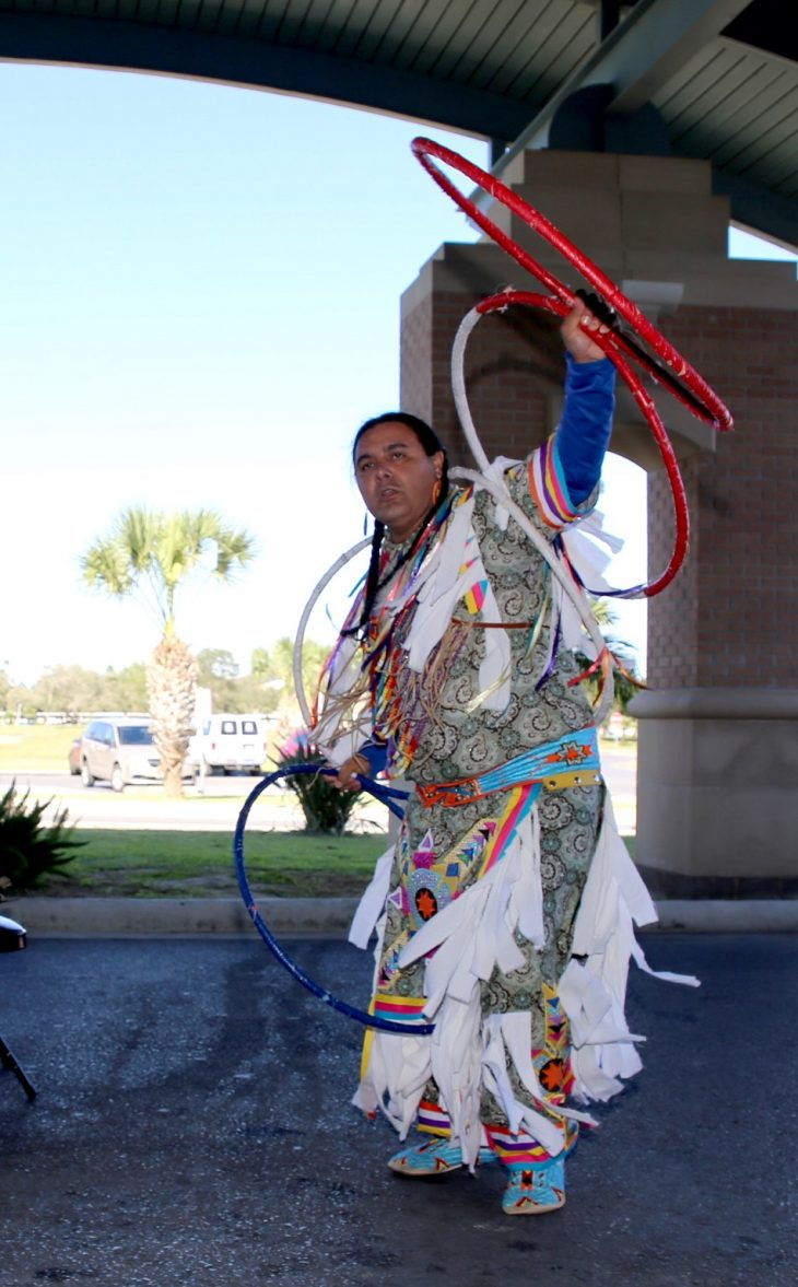 A male member of the Lipan Apache Tribe of Texas performs the Hoop Dance during a special event held in observance of National Native American Heritage Month, which took place at the VA outpatient clinic in Harlingen, Texas, on November 16, 2018. (U.S. Department of Veterans Affairs photo by Luis H. Loza Gutierrez)