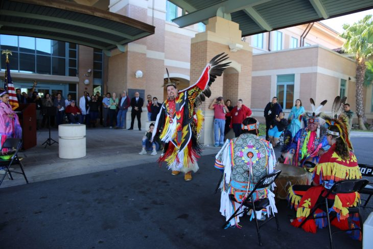 VA Texas Valley Coastal Bend Health Care System Published by Luis H Loza Gutierrez Page Liked · November 16 · Edited ·  ·    A male member of the Lipan Apache Tribe of Texas performs the Eagle Dance during a special event held in observance of National Native American Heritage Month, which took place at the VA outpatient clinic in Harlingen, Texas, on November 16, 2018. Lipan Apache Tribe of Texas are allowed to have and use eagle feathers for religious ceremonies associated with their tribal and cultural customs and traditions. (U.S. Department of Veterans Affairs photo by Luis H. Loza Gutierrez)