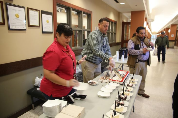 Guests were treated to some cake courtesy of the VA Voluntary Service. Image taken during a special event held in observance of National Native American Heritage Month, which took place at the VA outpatient clinic in Harlingen, Texas, on November 16, 2018. (U.S. Department of Veterans Affairs photo by Luis H. Loza Gutierrez)
