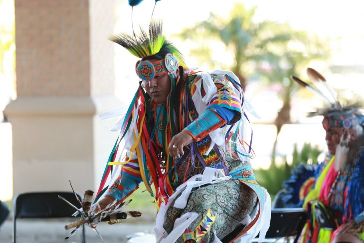A male member of the Lipan Apache Tribe of Texas performs a dance during a special event held in observance of National Native American Heritage Month, which took place at the VA outpatient clinic in Harlingen, Texas, on November 16, 2018. (U.S. Department of Veterans Affairs photo by Reynaldo Leal)