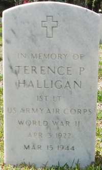 Memorial marker for 1st Lt. Terence Patrick Halligan at Florida National Cemetery in Bushnell, Florida.