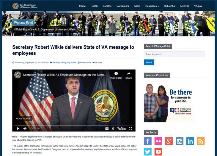 Screen shot of VA Secretary Robert Wilkie's state-of-the-VA message published on VAntage Point in September 2018. Click on hyperlink in story to read article, which features the message in video form.