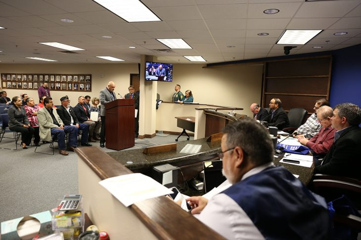 Homero Martinez III, VA Texas Valley Coastal Bend Health Care System (VCB) director, speaks from the podium during a public hearing hosted by the Hidalgo County Commissioners Court on November 20, 2018, at the Hidalgo County Commissioners courtroom in Edinburg, Texas. (U.S. Department of Veterans Affairs photo by Reynaldo Leal)