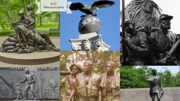 Graphic shows multiple memorials from around Washington DC