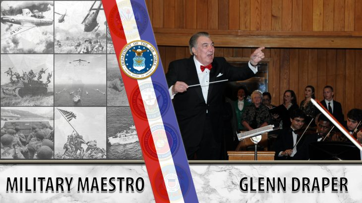 Picture shows Glenn Draper and several people playing instruments - Text reads: MILITARY MAESTRO - GLENN DRAPER
